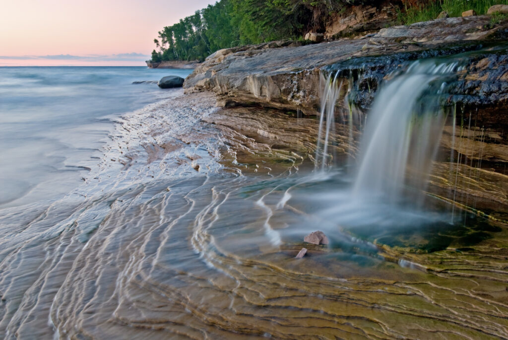 A waterfall at Miners Beach on Pictured Rocks National Lakeshore.