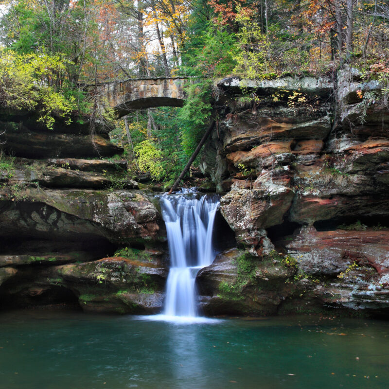 A waterfall at Old Man's Cave in Hocking Hills State Park.