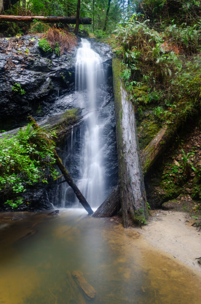 A waterfall at Russian Gulch State Park.