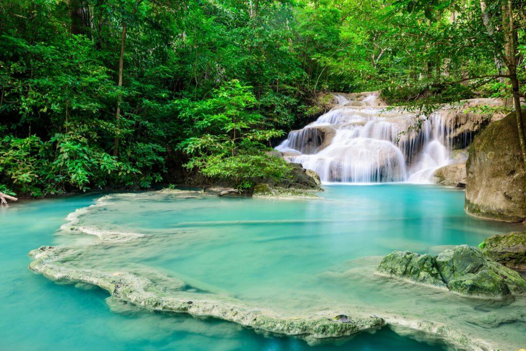 A waterfall in Erawan National Park, Thailand.