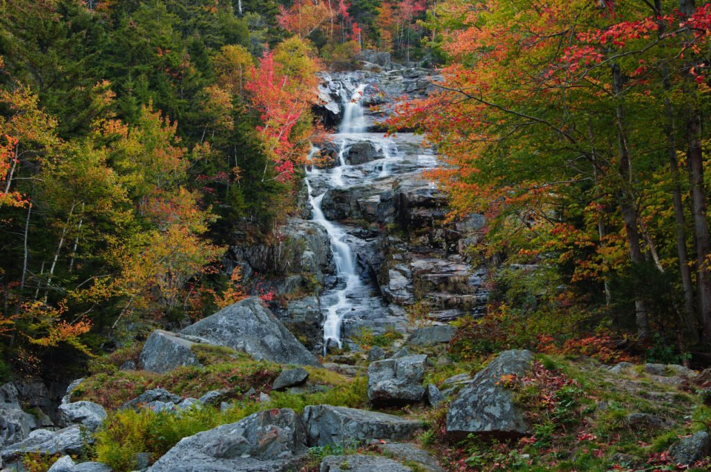 A waterfall in New Hampshire's Crawford Notch State Park.