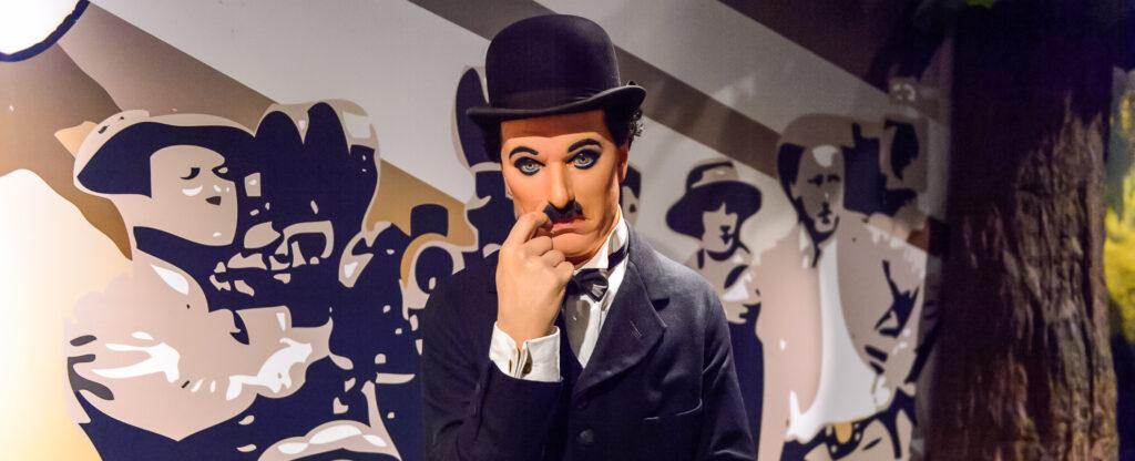 A wax figure of Charlie Chaplin.