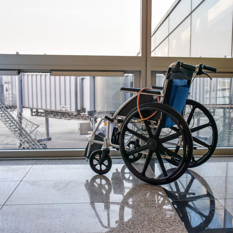 A wheelchair at an airport.