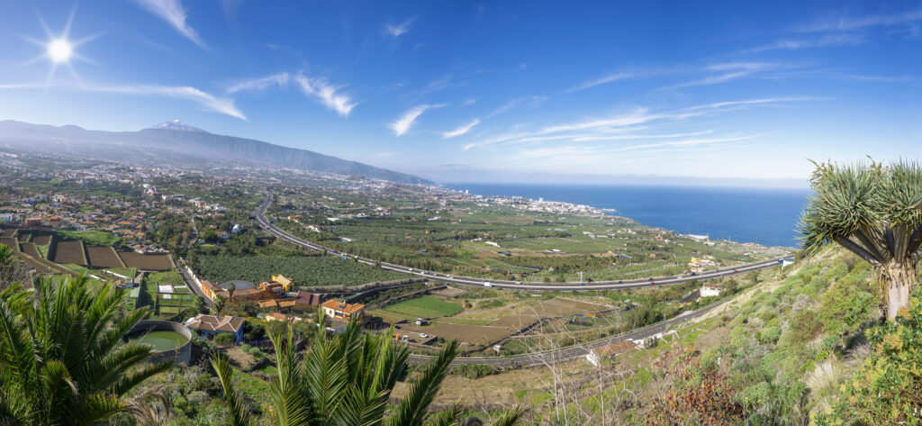 A wide-angle shot of Tenerife's Orotava Valley