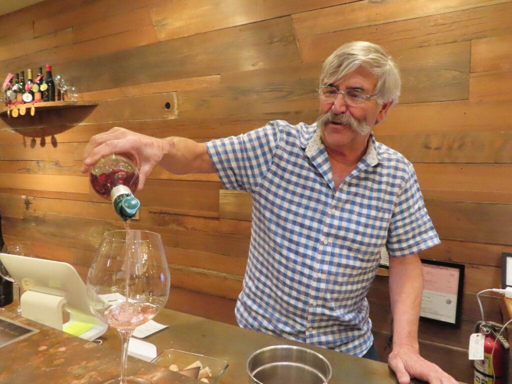 A wine tasting at Blair Vineyards.