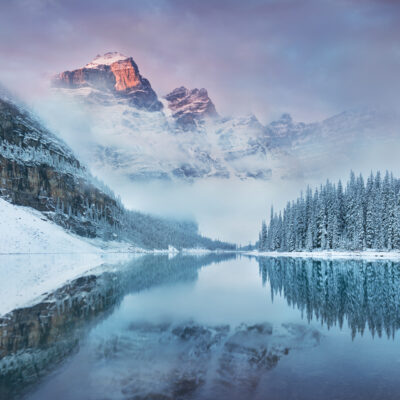 A winter day in Moraine Lake in Banff National Park.
