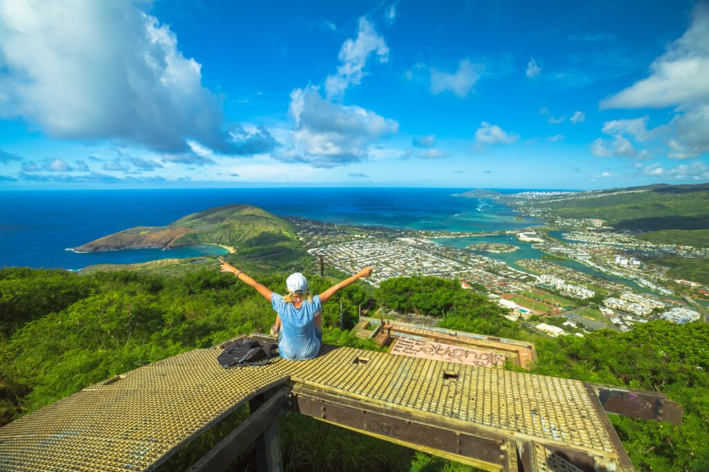 A woman at the top of Diamond Head Crater.
