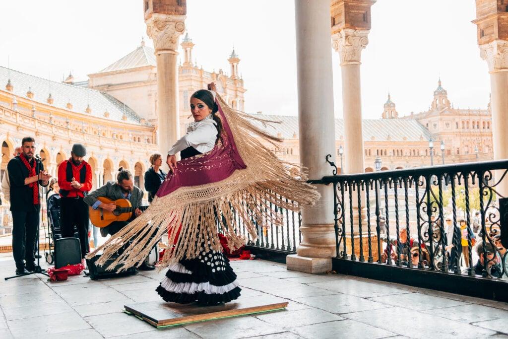 A woman flamenco dancer in Seville, Spain