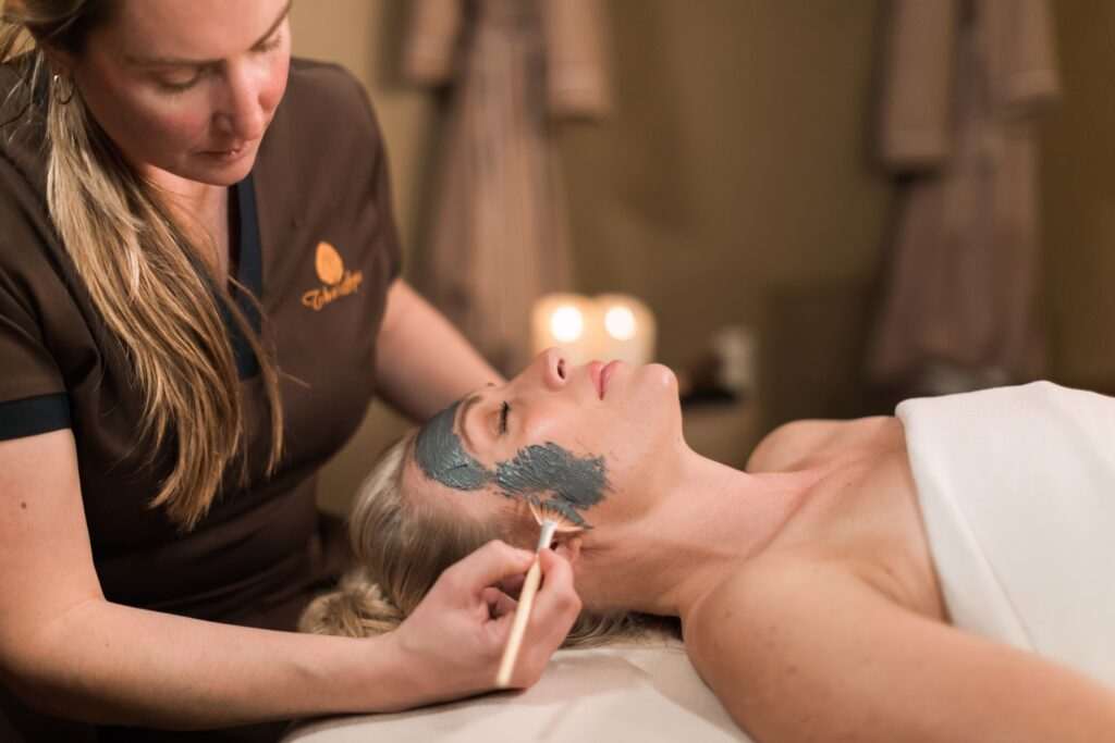 A woman gets a spa treatment in Park City.