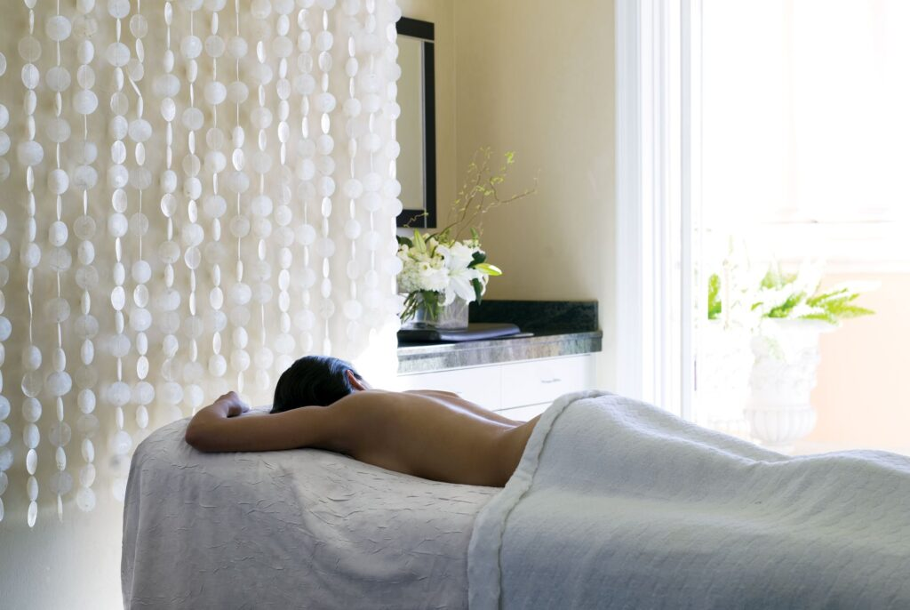 A woman getting a spa treatment at the Ritz-Carlton.