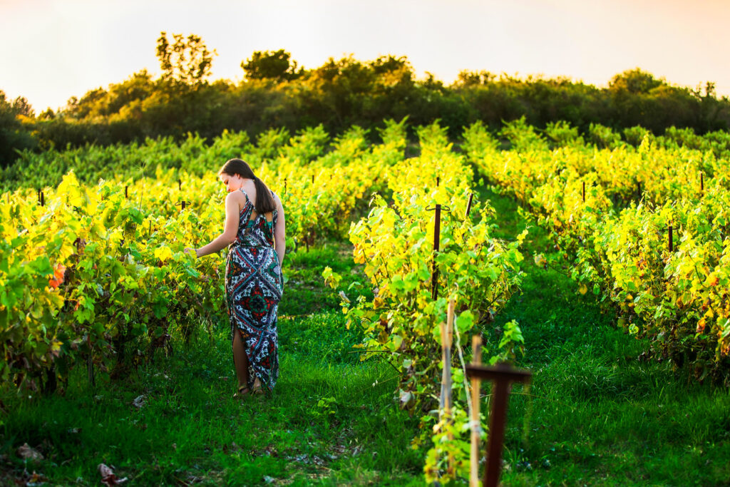 A woman in a Sonoma Valley vinyard.
