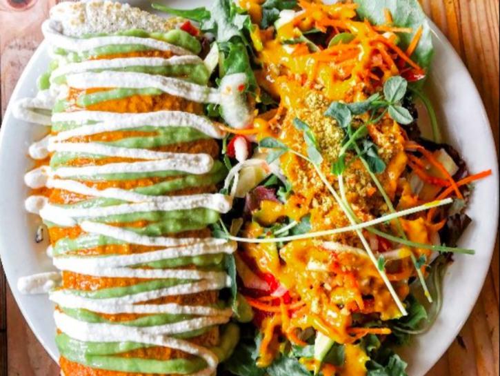 A wrap and salad from Judahlicious, San Francisco