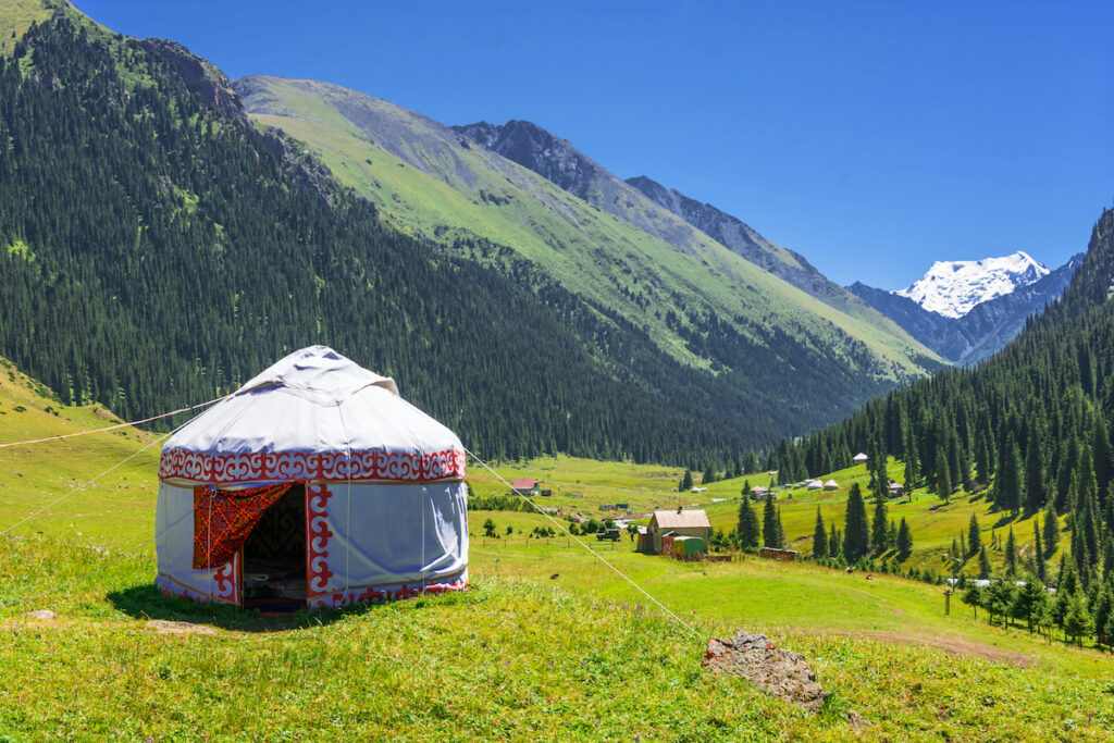 A yurt in the mountains of Kyrgyzstan.