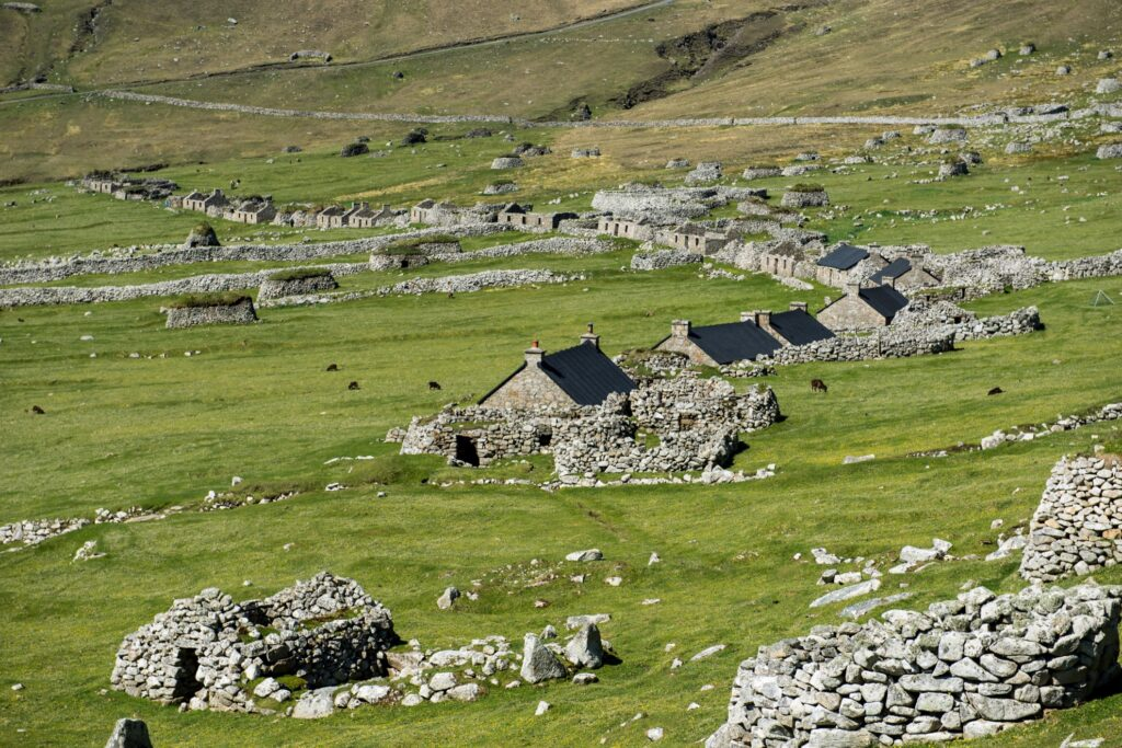 Abandoned houses and wild sheep on Hirta.