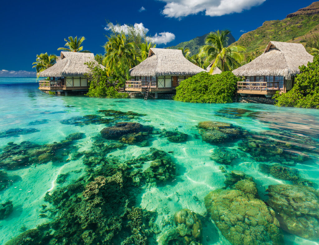 Above-water bungalows in Moorea Island.