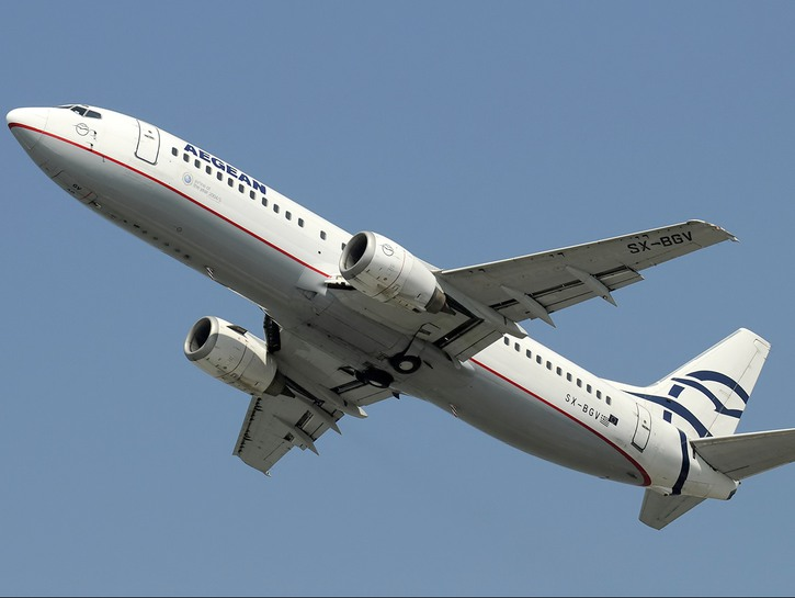 Aegean airlines plane in flight seen from the ground