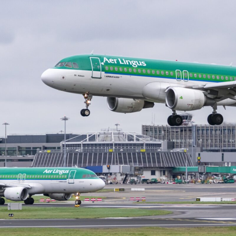 Aer Lingus airline planes at Dublin Airport.