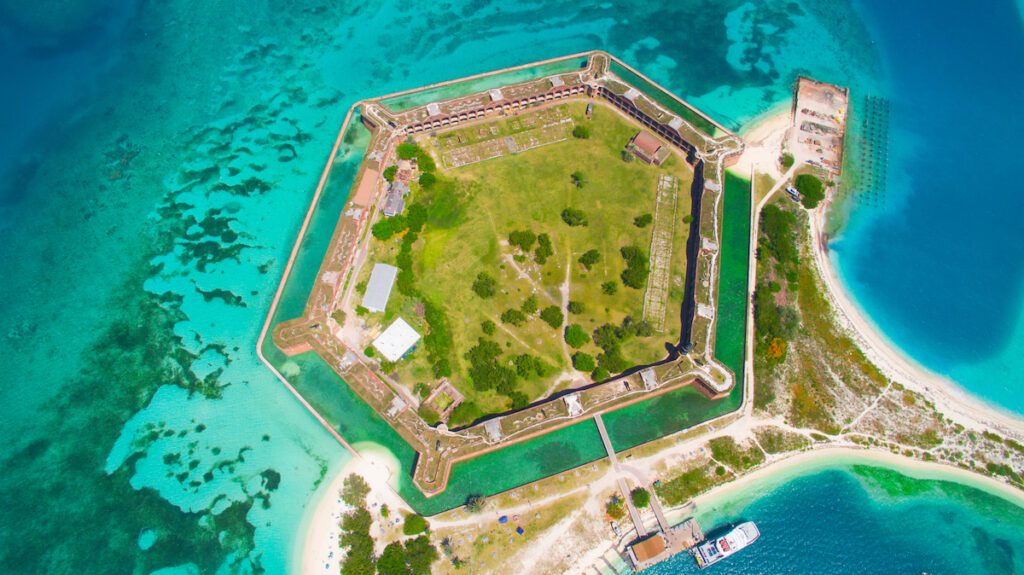 Aerial of Dry Tortugas National Park.