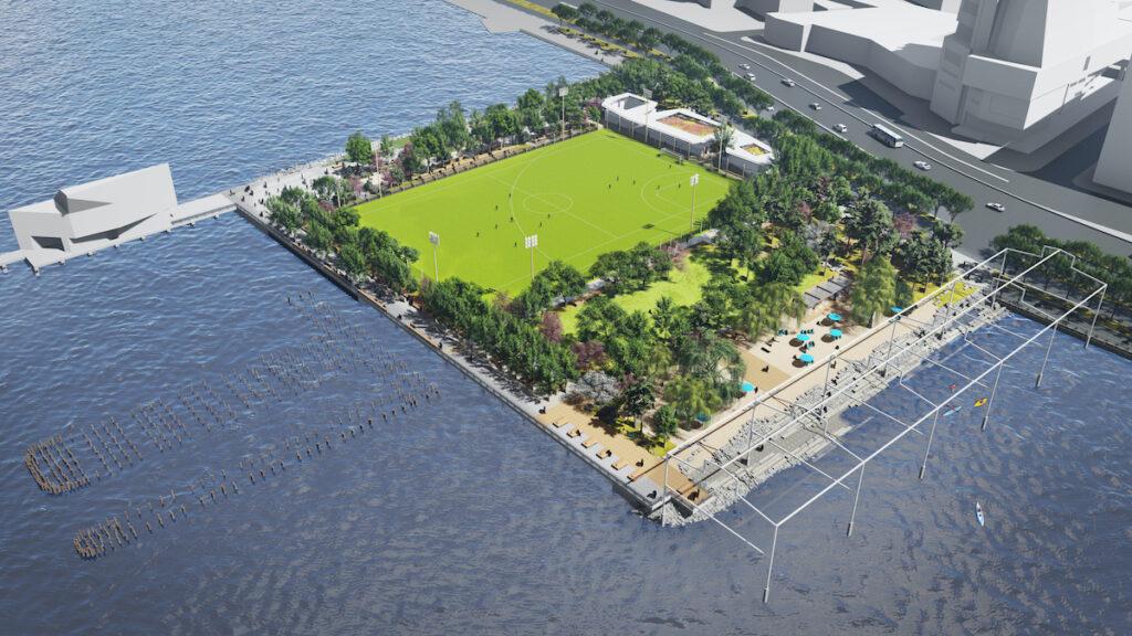 Aerial rendering of the upcoming beach at Gansevoort Peninsula.