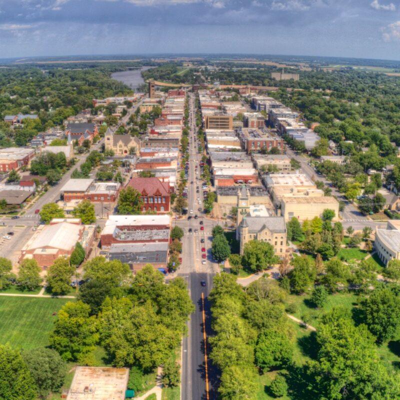 Aerial view, Lawrence, Kansas.