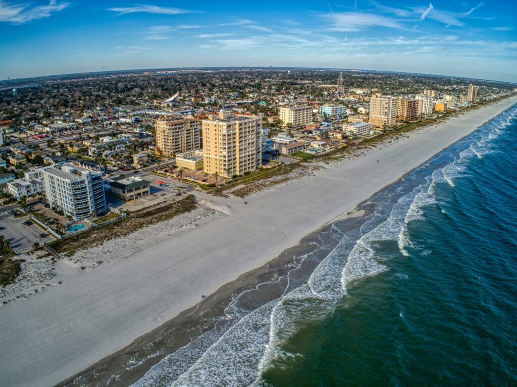 Aerial view of a beach in Jacksonville, Florida.