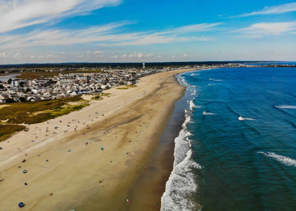 Aerial view of a beach in The Hamptons, New York.