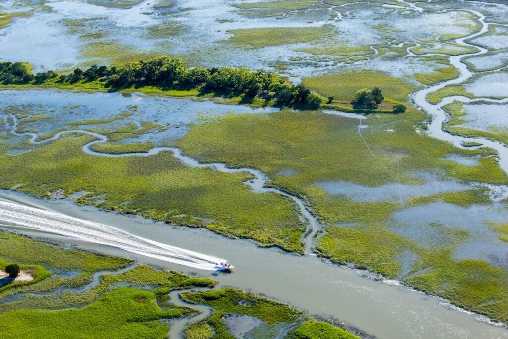 Aerial view of a boat tour on Kiawah Island, South Carolina.