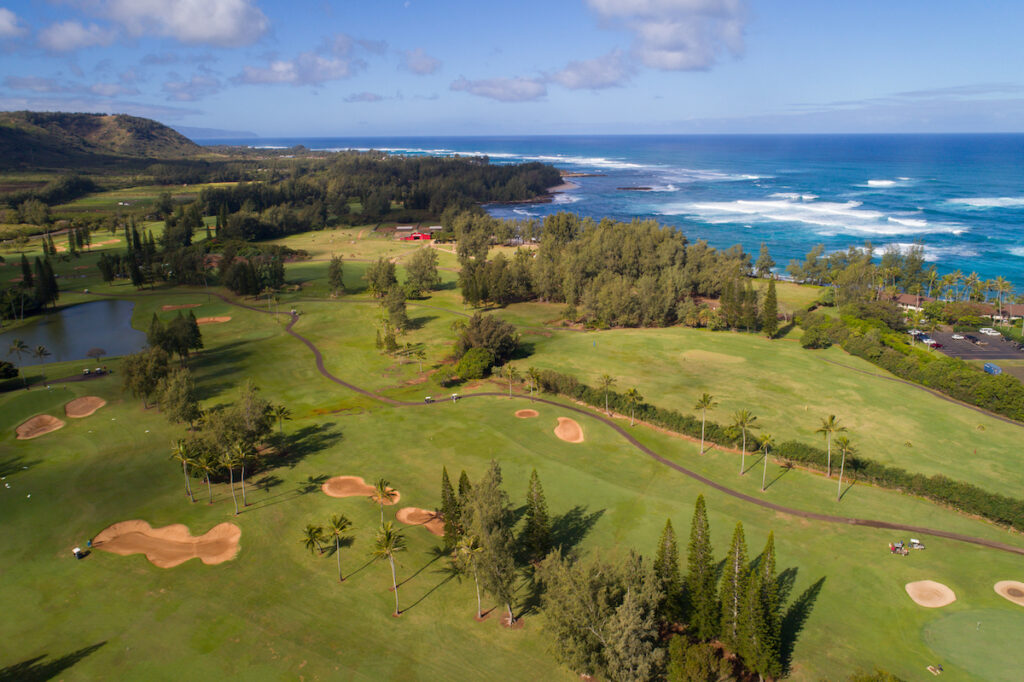 Aerial view of a golf course in Oahu, Hawaii.