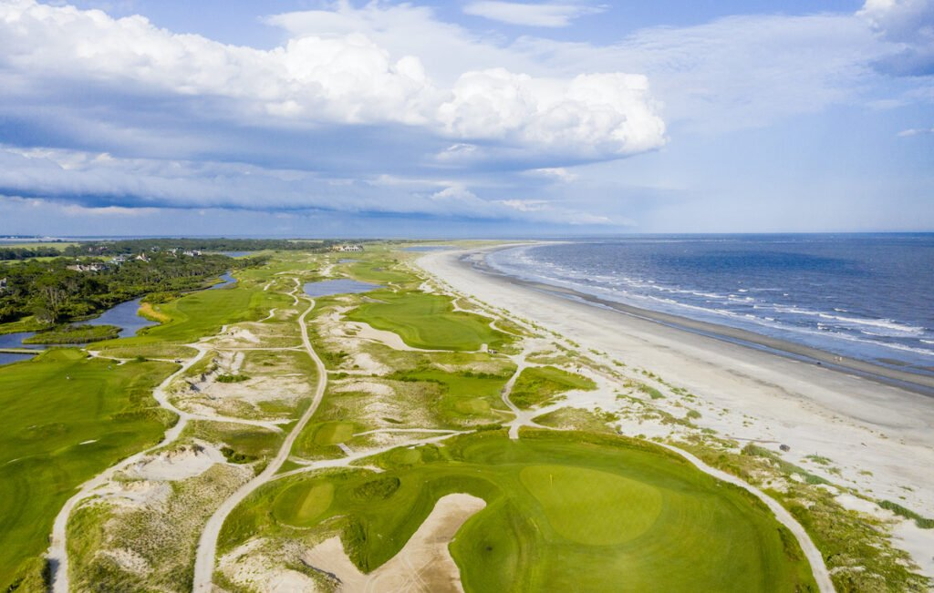 Aerial view of a golf course at Kiawah Island Resort.