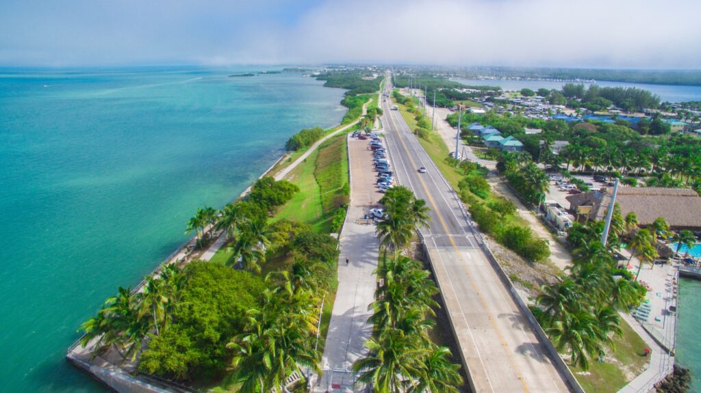 Aerial view of a highway along the Florida Keys.
