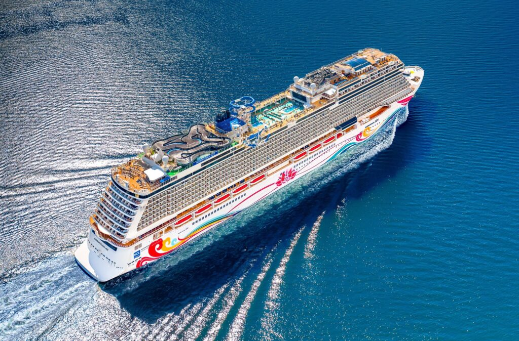 Aerial view of a Norwegian Cruise ship.