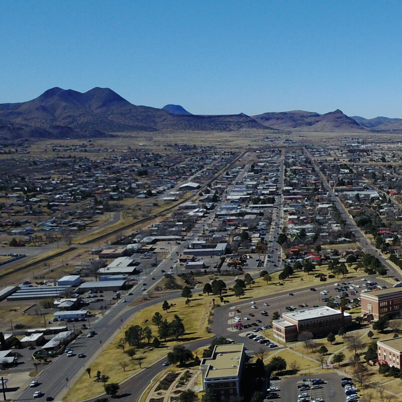 Aerial view of Alpine, Texas.