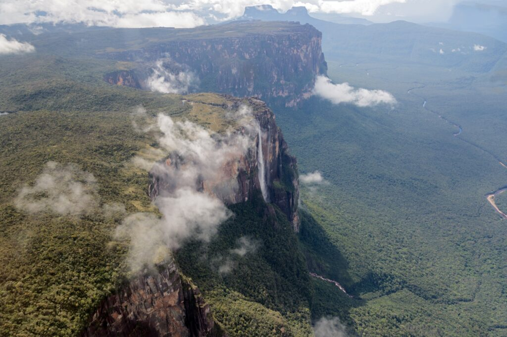 Aerial view of Angel Falls.