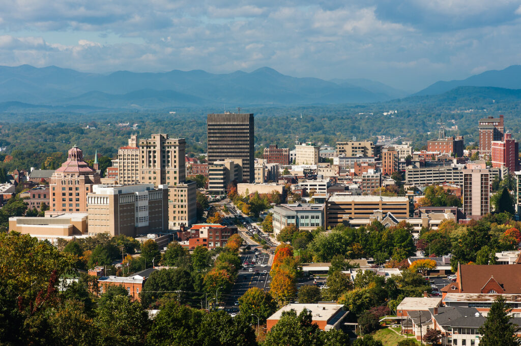 Aerial view of Asheville, North Carolina.