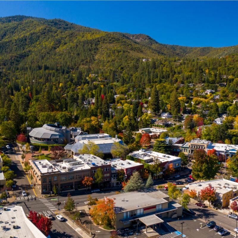 Aerial view of Ashland, Oregon.