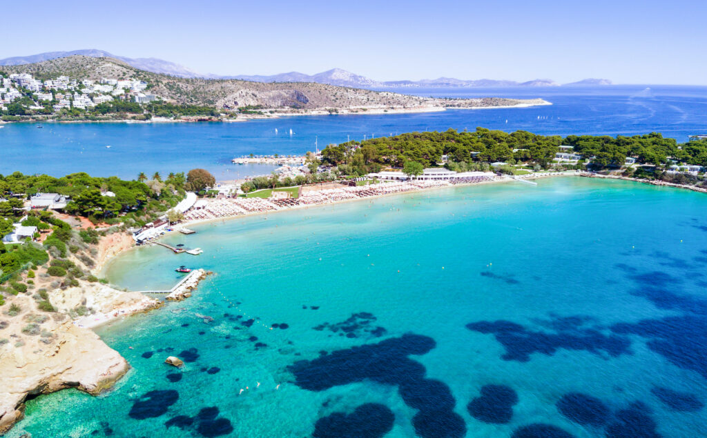 Aerial view of Astir Beach in Athens.