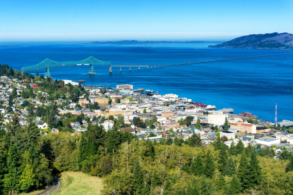 Aerial view of Astoria, Oregon.