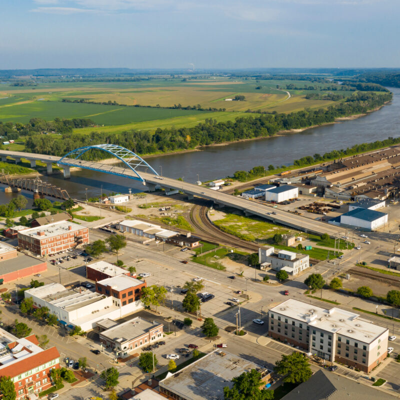 Aerial view of Atchinson, Kansas.