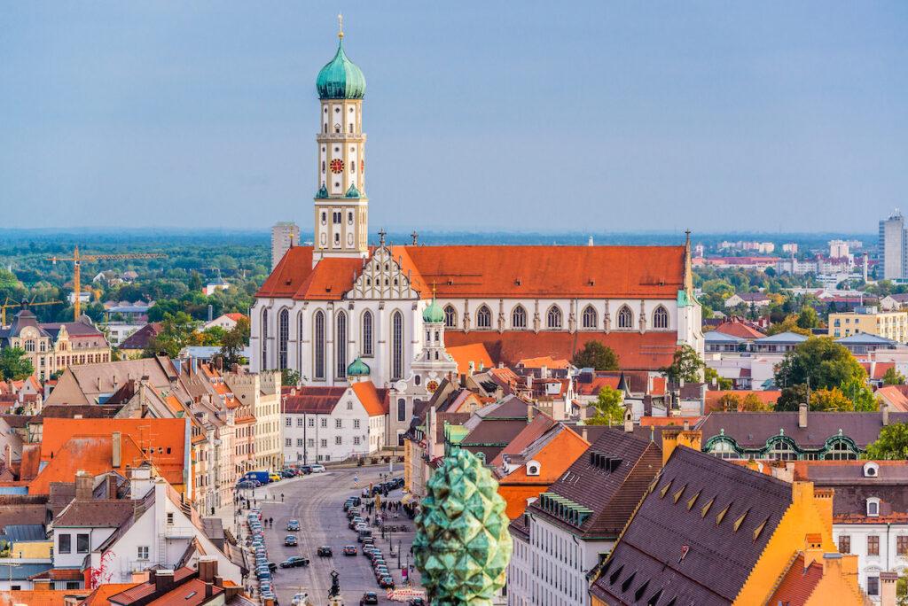 Aerial view of Augsburg, Germany.