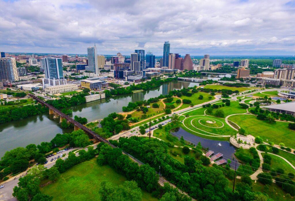Aerial view of Austin, Texas.