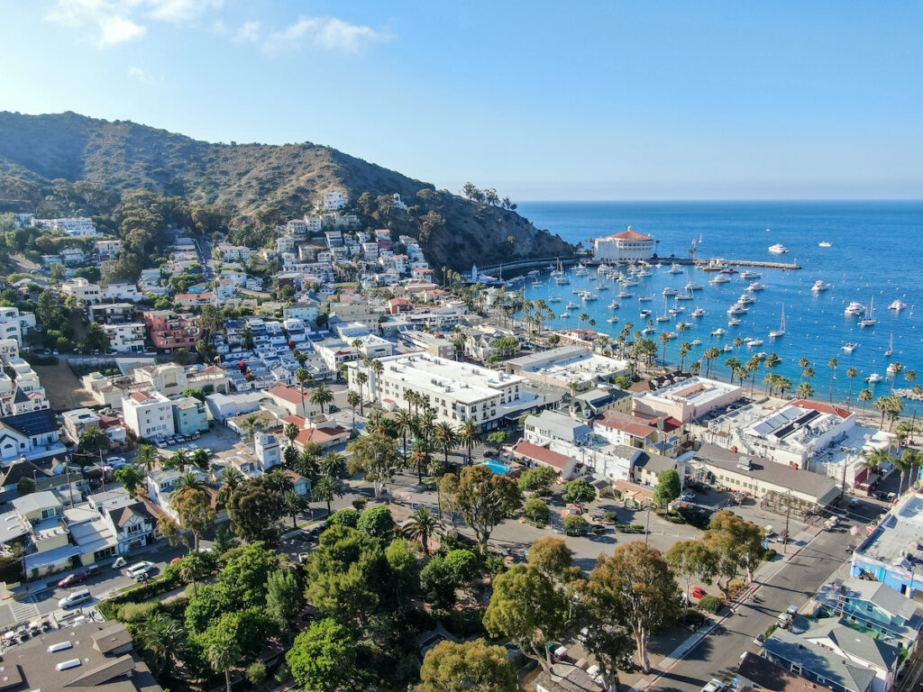 Aerial view of Avalon, California, on Catalina Island.
