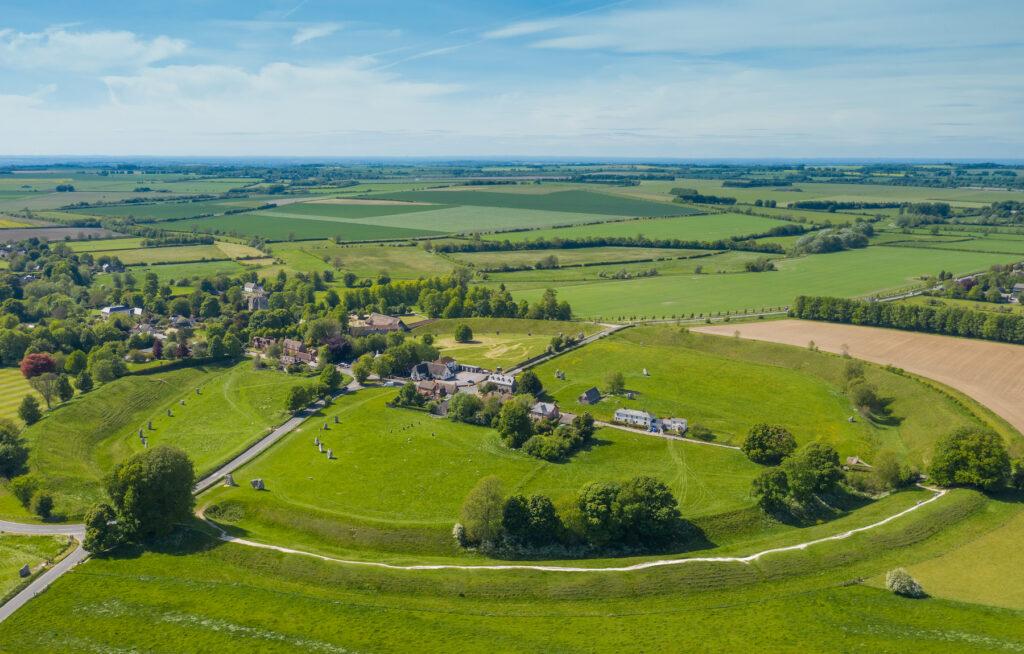 Aerial view of Avebury Henge in Wiltshire, England.