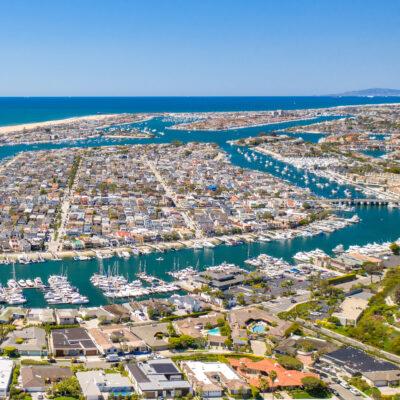 Aerial view of Balboa Island in California.