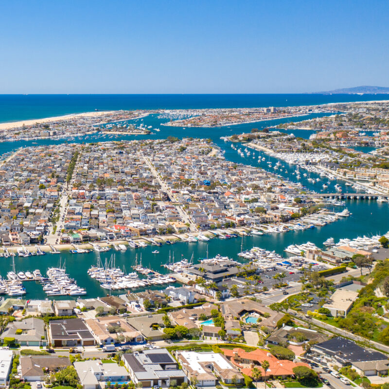 Aerial view of Balboa Island in California.