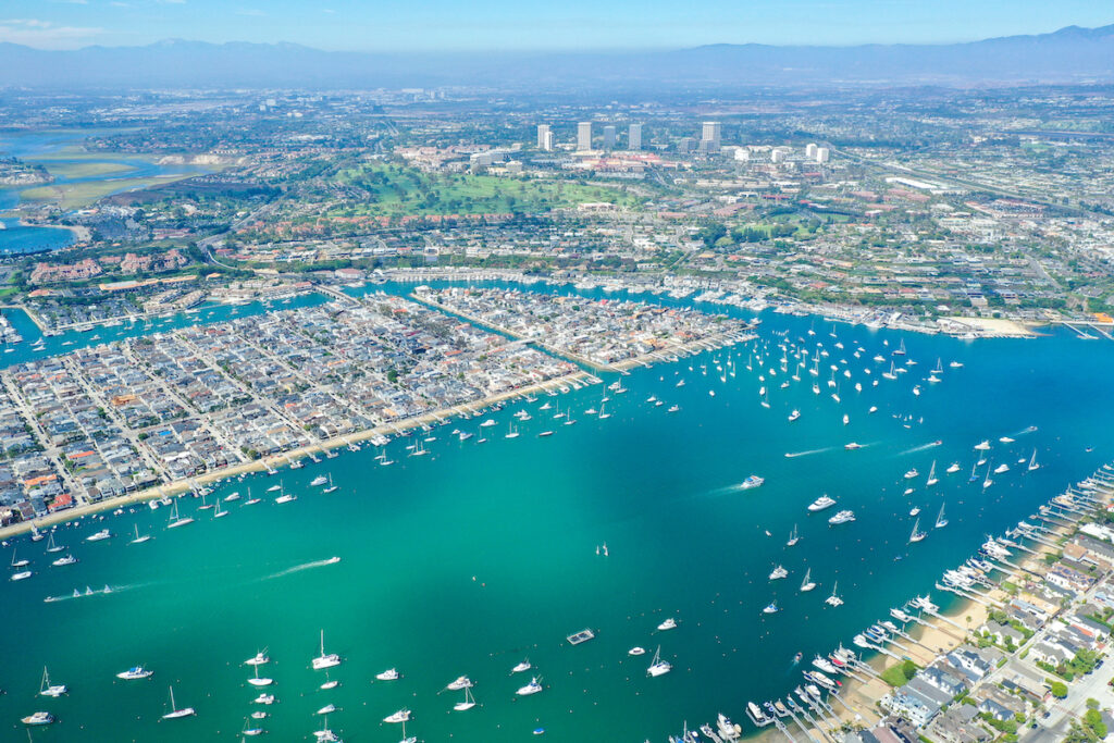 Aerial view of Balboa Island, California.