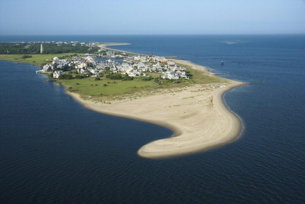 Aerial view of Bald Head Island in North Carolina.