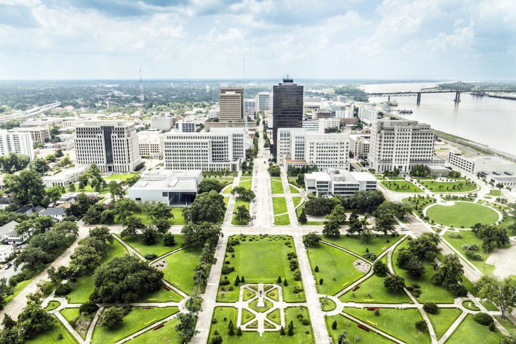 Aerial view of Baton Rouge, Louisiana.