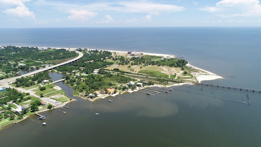 Aerial view of Bay St. Louis in Mississippi.