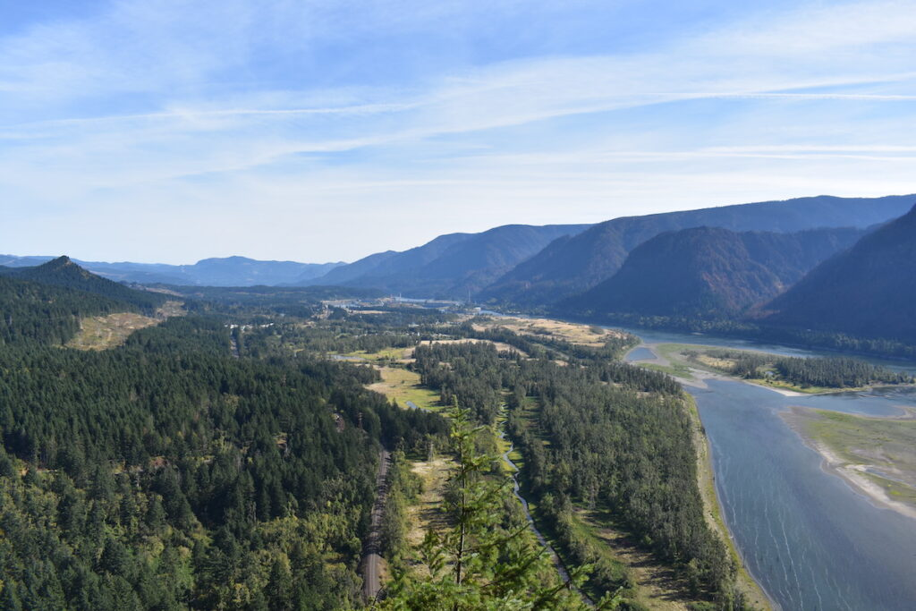Aerial view of Beacon Rock State Park.