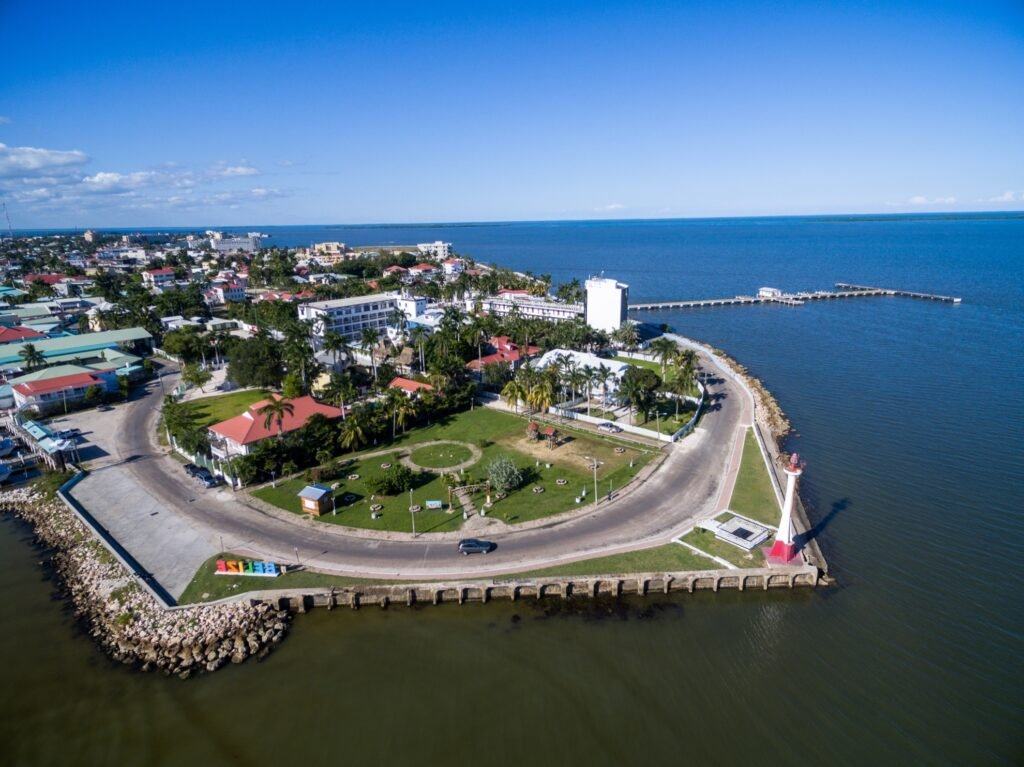 Aerial view of Belize City.
